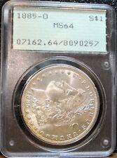 1885-O Morgan Silver Dollar PCGS Graded MS 64 in Old Rattler Holder, Nice