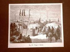 Villaggio di Indiani Mandan o Mandani nel 1883 Nord America