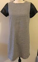 C Wonder byTory Burch Small S Sheath Dress Black/White Houndstooth &leather NWT⭐