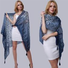Women Elegant Long Wraps Blue + White Porcelain Scarf Cotton Linen Scarves Wrap