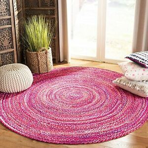Rug 100% Natural Cotton reversible handmade rug living modern rustic look rug