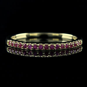 10K Solid Yellow Gold 0.13ct Pink Sapphire Womens Wedding Band Ring