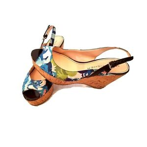 Marc Fisher Womens Wedge Shoe Heel Sandal Floral Cork Blue Slingback 9M