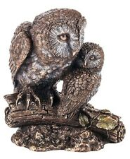 Mother and child owl Figurine Animal Statue Veronese Bronze