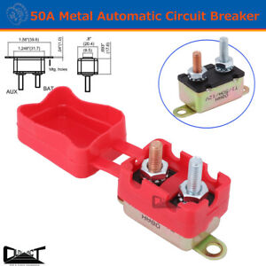 50A AMP 12V Metal Circuit Breaker Cover Fuse Auto Rest Dual Battery