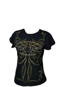 2007 Harley Davidson Motorcycles Spellout Womens Shirt Black Gold Small Idaho