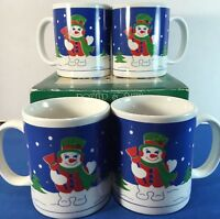 Snowman Mugs Set 4 Potter Smith Box New Christmas Winter Caldor Vintage Coffee
