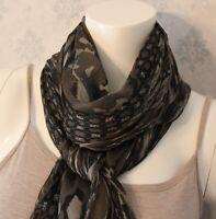 Vintage YSL Yves Saint Laurent Camouflage Floral Large Gray & Brown Silk Scarf