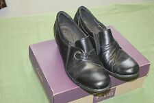 CLARKS BENDABLES BLACK LEATHER CLOGS WOMEN'S SZ 9 1/2M