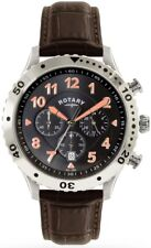 Rotary GS00483/04 Chronograph Stainless Steel Leather Strap Waterproof RRP £199