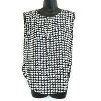 Oat+Fawn S Black White Elephant Blouse Cap Sleeves Buttons Career Casual Top