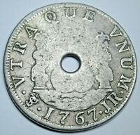 1767 Potosi Spanish Bolivia Silver 2 Reales Antique 1700's Colonial Pirate Coin