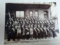 Patriotic Sons of America photo  ready for parade  drums flags 1880 to 1890