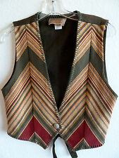 Roughrider Striped Western Twill Vest Sage Green Gold Red Tan  USA   S