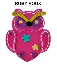 RUBY ROUX LUCITE OWL PIN BROOCH -- PINK BLACK BLUE YELLOW with RHINESTONES