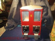 DOUBLE Vintage Candy Peanut Machine 5 Cent Good Working Condition w Key NICKEL