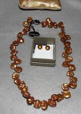 HONORA FRESHWATER PEARL GOLDEN PETAL KESHI NECKLACE AND STUD SET NEW 18""