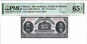 P-S1069 1915 25 Centavos, Mexico, Revolutionary, Estado de Sonora PMG 65EPQ