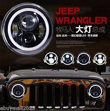 "7"" Round 40W LED Off-Road Work Light For CJ Wrangler TJ LJ JK DRL w/ Angel Eyes"