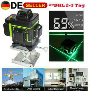 16 Linienlaser Level Meter 360 Grad Wasserdicht Laser Messwerkzeug 3D Grün Licht