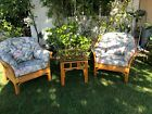 **** VINTAGE GORGEOUS RATTAN BAMBOO 3 PIECE SET WITH CUSHION ****