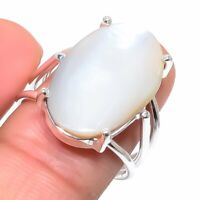 Mother Of Pearl Gemstone Handmade 925 Sterling Silver Jewelry Ring Size 8.5