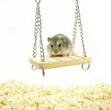 Wooden Hamster Toy Swing Bell Rat Bird Mouse Exercise Cage Hanging Pet Play UK