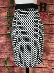 Banana Republic Skirt size 8 Black White Diamonds Straight Pencil Faux Leather