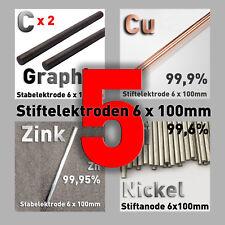 Galvanik Sparpaket 5 Stab-Anoden Elektroden Graphit Kupfer Nickel Zink 6 x 100mm