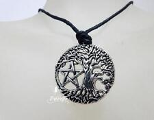 Tree of Life pentagram necklace, spiritual pagan jewellery set on a waxed cord