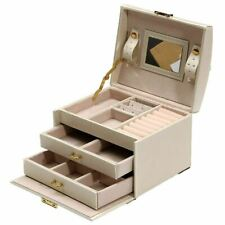 SODIAL 130836 Leather Jewellery Box with Ring and Bracelet Organiser - Beige
