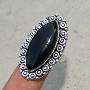925 Sterling Silver Plated Black Onyx Ring Size R 1/2 & 8.75 US Ring Jewellery