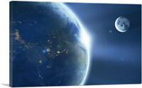 ARTCANVAS Planet Earth and Moon in Solar System Canvas Art Print