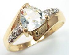 SYJEWELLERY 9CT GOLD 6MM TRILLION NATURAL AQUAMARINE & DIAMOND RING    R1144