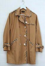 BURBERRY gold beige brown mac trench nova check designer coat jacket 10 12 M S