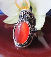 Anello ALPACA ARGENTO OCCHIO DI GATTO Rosso Etnico Inca Maya indiana stile 1