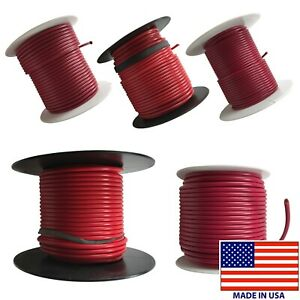 (5) Red 10 AWG to 18 Gauge Primary Wire 100 FT Spool Stranded Copper - USA