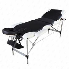 3 Sections Folding Aluminum Tube Spa Bodybuilding Massage Table Black&White Edge
