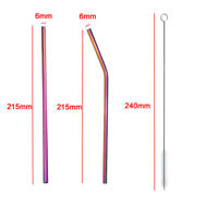 4pcs RAINBOW Metal Drinking Straws Stainless Steel Reusable Bar Cleaner Brush