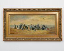 "Signed Franz Deischl Coastal Seascape Oil Painting Ornate Frame 22.5"" x 12.5"""