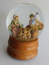 "Vintage Roman Fontanini Holy Family Figures Musical Glitterdome 6"" x 4"" 1989"
