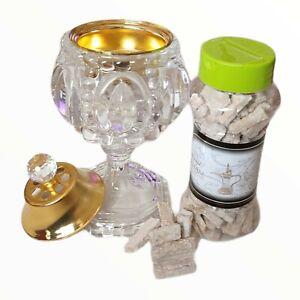 2 piece Incense Crystal Burner Dirham Bakhoor  free Charcoal Starter full set