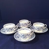 MINTON SHALIMAR SET 4 COFFEE TEACUPS TEA CUPS SAUCERS BLUE FLORAL BONE CHINA ENG