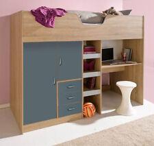 Brighton High Sleeper Childrens Cabin Bed With Desk Wardrobe Oak Grey RFE1610OG