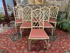 Set of 6 Vintage Chippendale Dining Chairs~Hollywood Regency~Bamboo Design~Rare