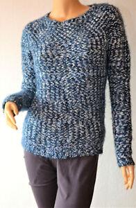 Street One kuscheliger Pullover mit Fransengarn blau u. weiß Mod.Cady Gr.34 Neu