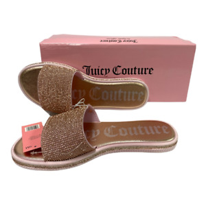 Juicy Couture Womens JC-Yummy Slides Sandals Rose Gold Pink Padded Slip On 9 New