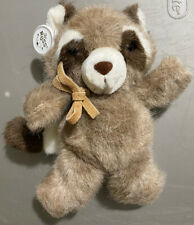 "Vintage 10"" Russ Soft Suede Plush Toy Raccoon Named ""Macaroon"" Stuffed Animal"