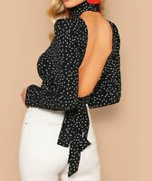 Long Sleeve High Neck Backless Knot Polka Dot Print Sexy Blouse Top Casual