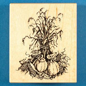 PSX Fall Harvest G-1294 Rubber Stamp - Bundle of Cornstalks, Pumpkins, Corn
